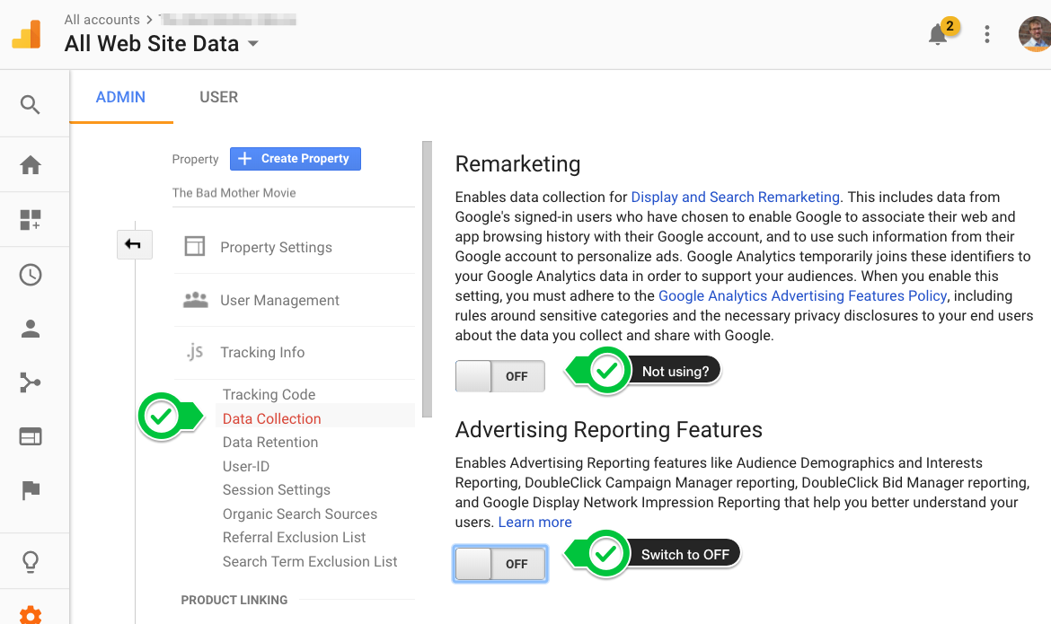 How to switch off Advertising Features in Google Analytics if you're not using them.