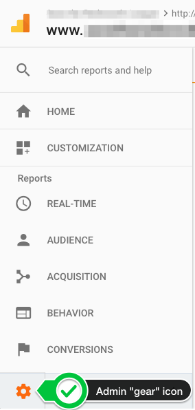 Admin button in Google Analytics